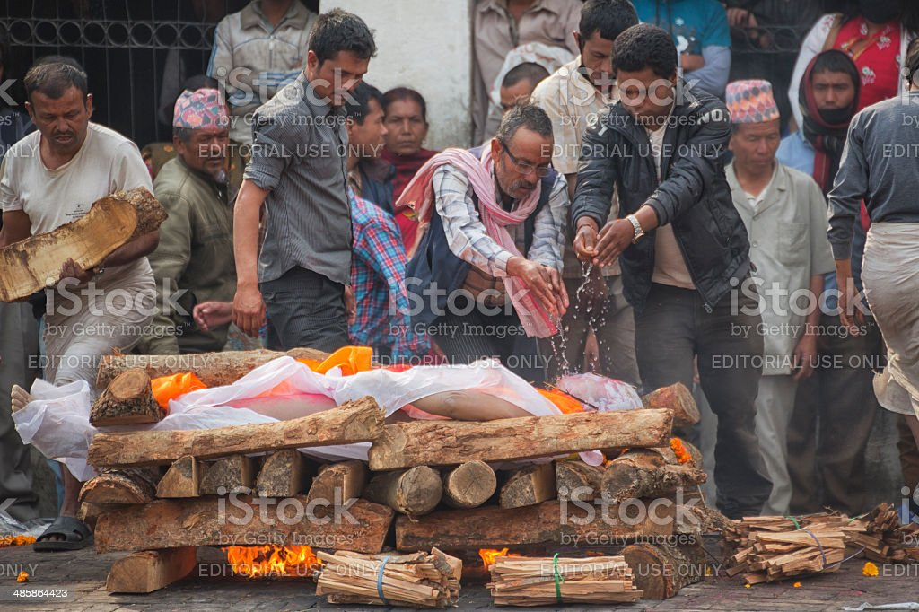 Cremation on Bagmati Riverbank near the Pashupatinath Temple, Kathmandu, Nepal stock photo