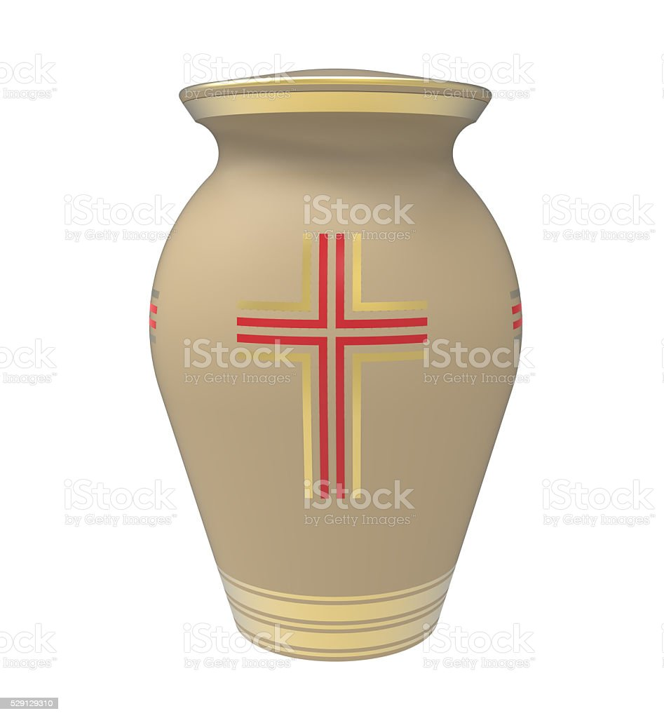 Cremation urn stock photo