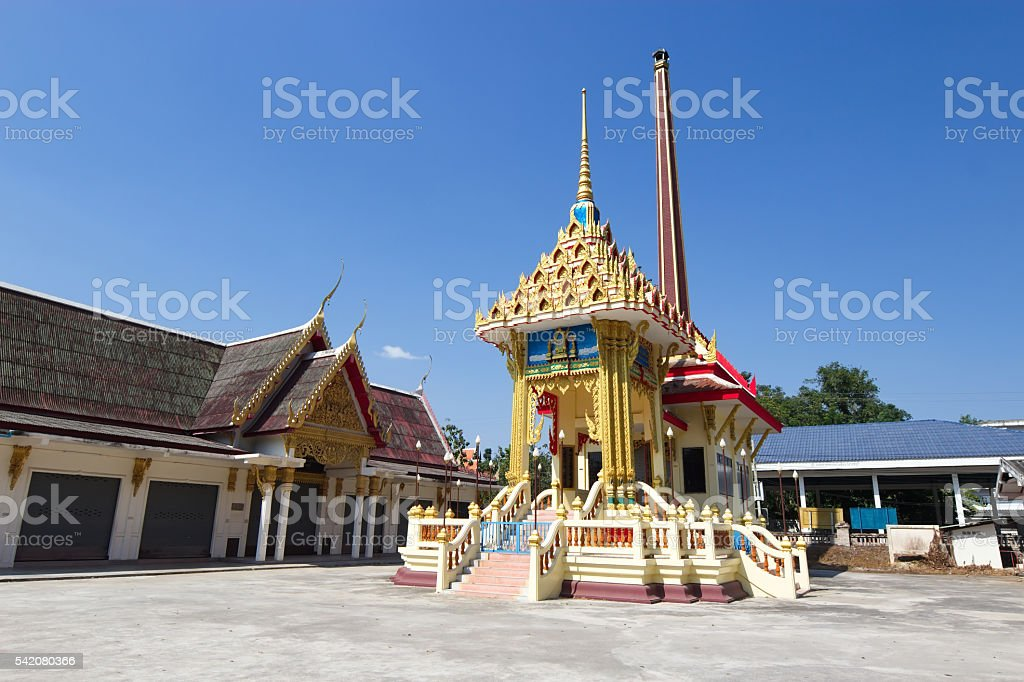 Crematorium with blue sky background in the Thai temple stock photo