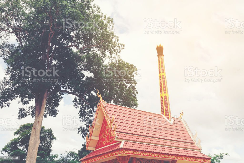 Crematorium with more clouds background in the Thai temple, stock photo