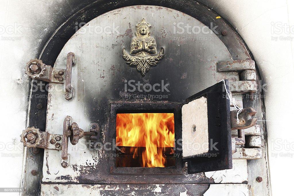 crematory door stock photo