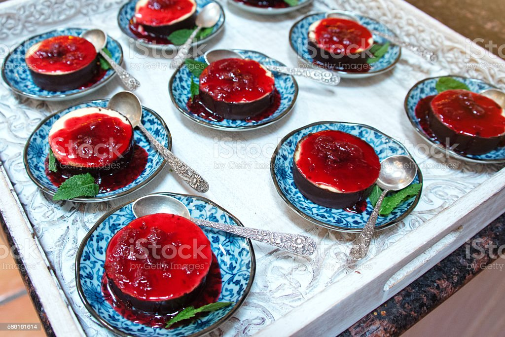 Creme Brulee with Berries Served on Wooden Tray stock photo
