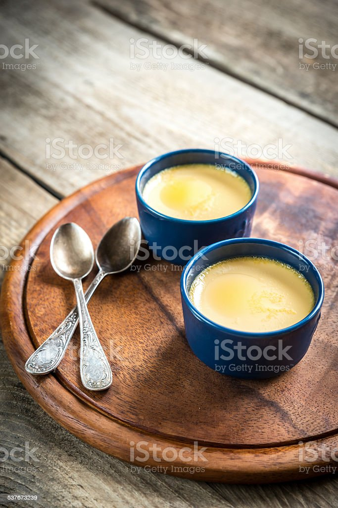 Creme caramel in the pots stock photo