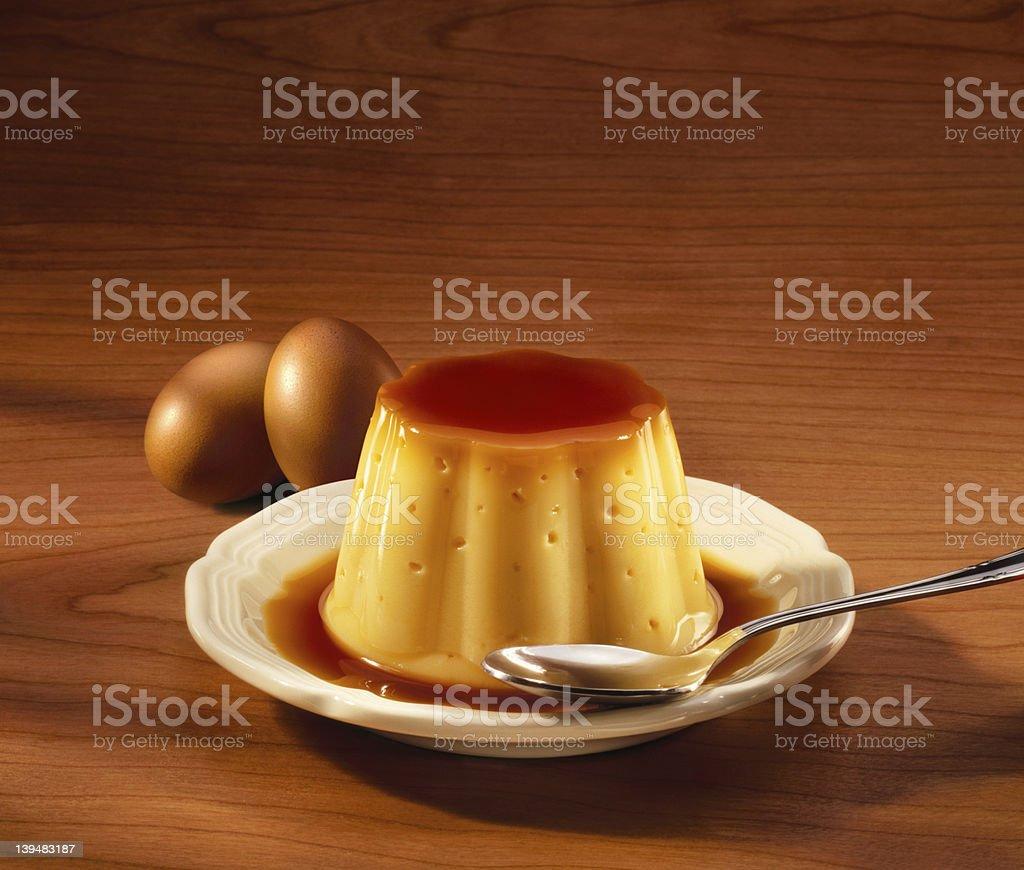 Creme caramel (Flan de huevo) on wood table stock photo