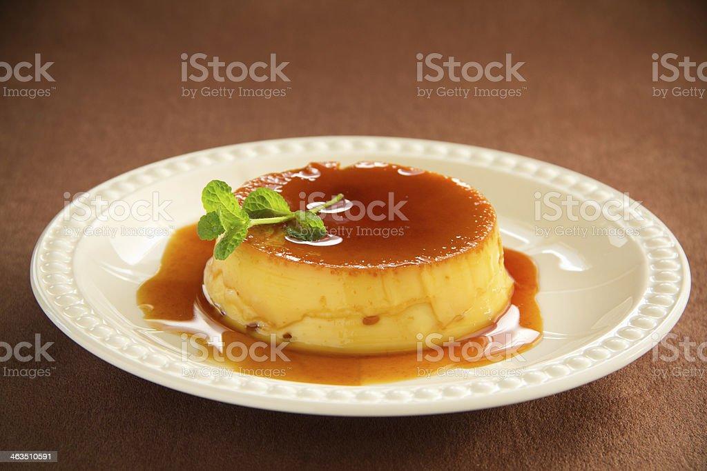Creme caramel stock photo