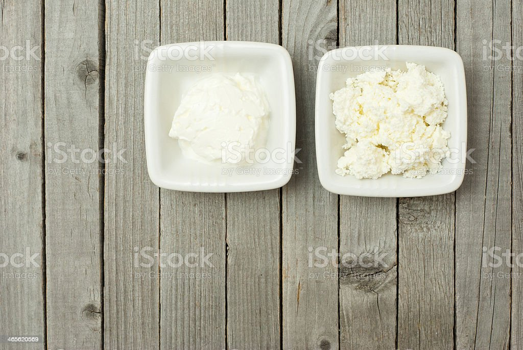 Creme fraiche, cottage cheese royalty-free stock photo