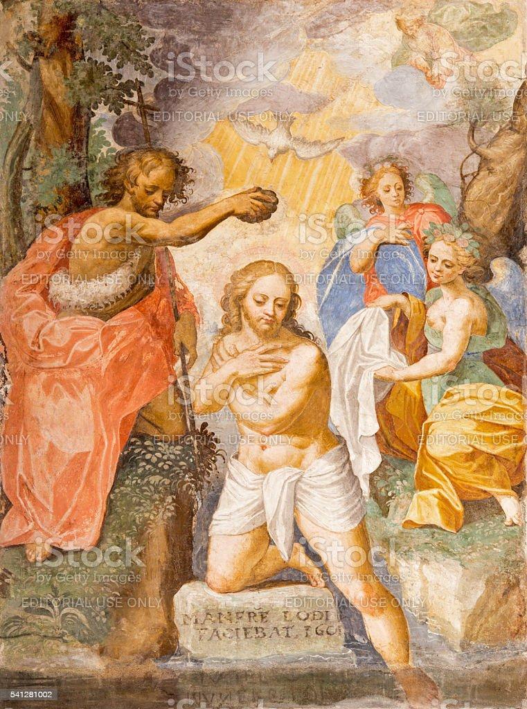Cremona -  Baptism of Christ fresco in San Agostino stock photo