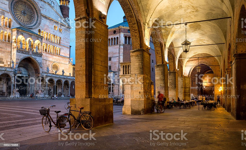 Cremona Cathedral  and archway at dusk, Lombardy Italy stock photo