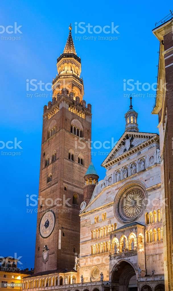 Cremona Cathedral  and tower at dusk, Lombardy Italy stock photo
