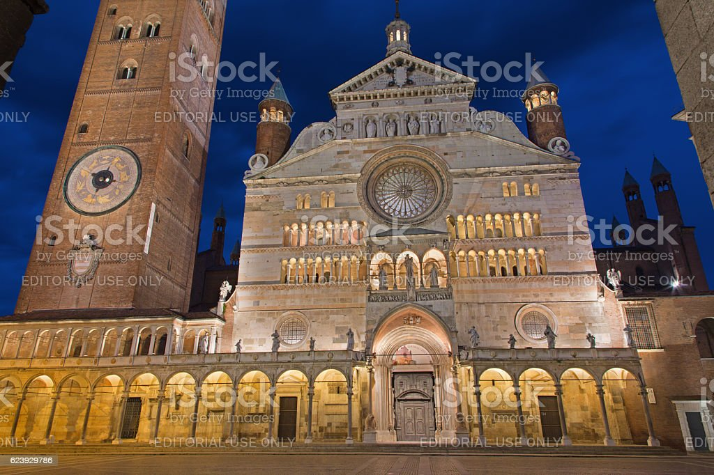 Cremona - cathedral Assumption of the Blessed Virgin Mary dusk. stock photo