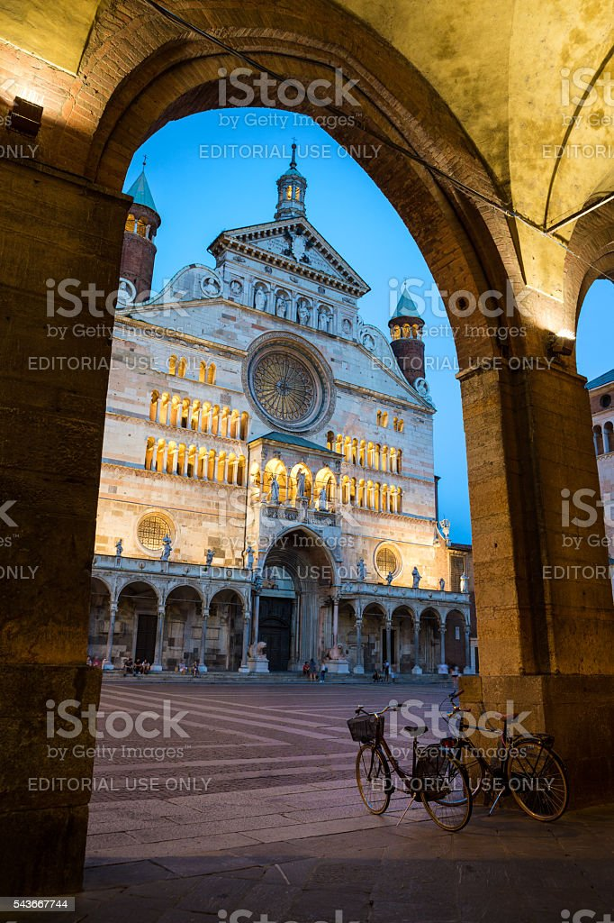 Cremona Cathedral  at dusk, Lombardy Italy stock photo