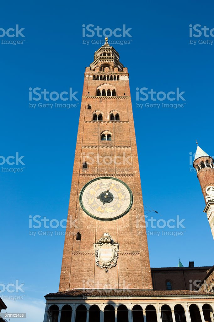 Cremona Cathedral  tower called Torrazzo, Lombardy Italy stock photo
