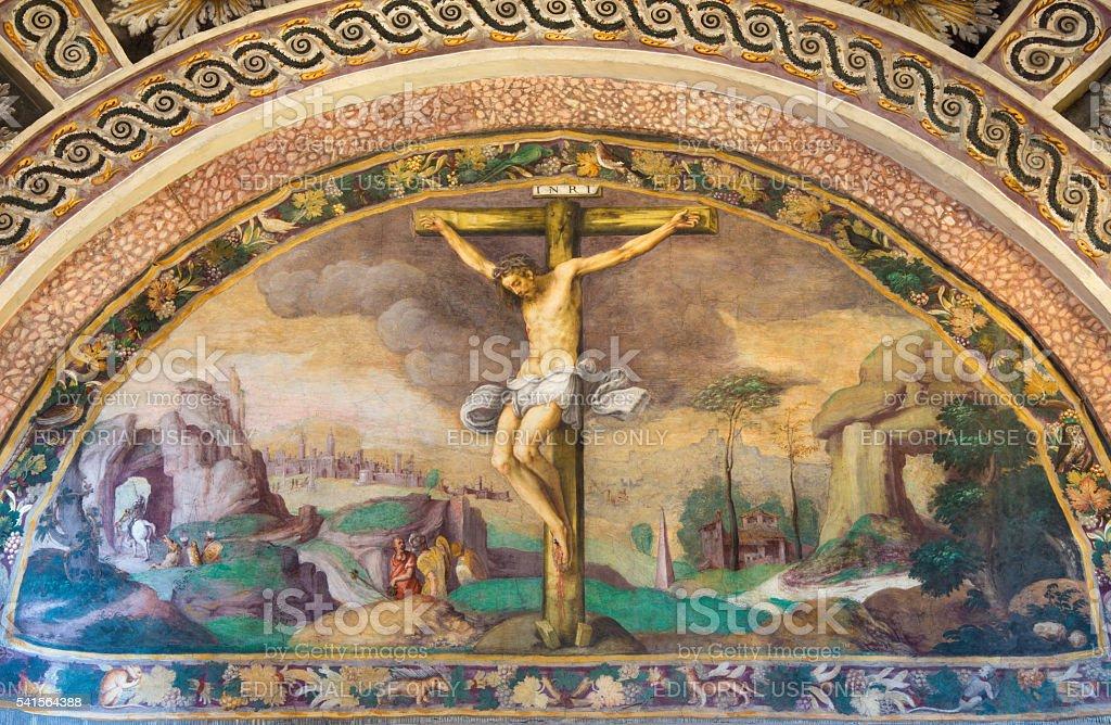 Cremona - fresco of Crucifixion in Chiesa di Santa Rita stock photo