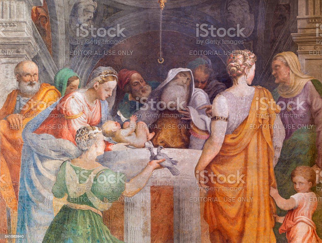 Cremona - fresco of Presentation in the Temple in Chiesa stock photo
