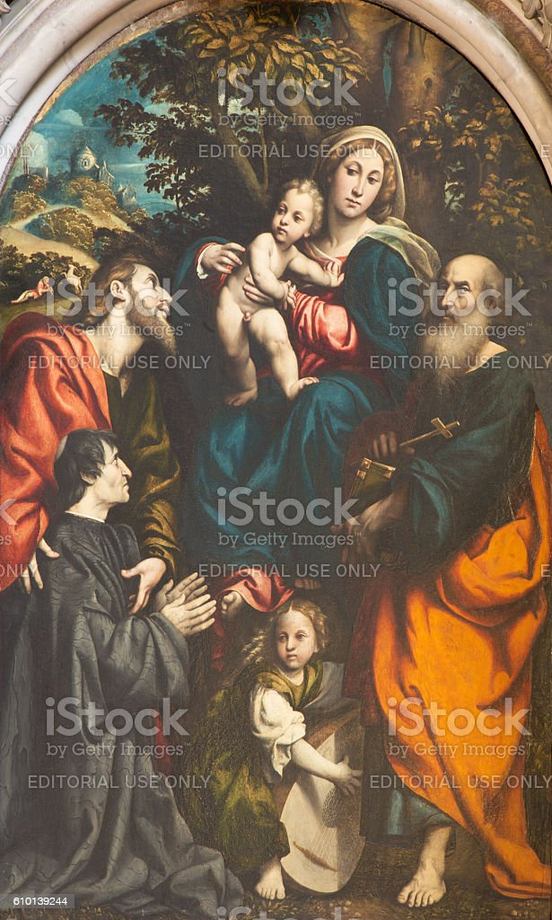 Cremona - painting of Madonna with the Child and saints stock photo