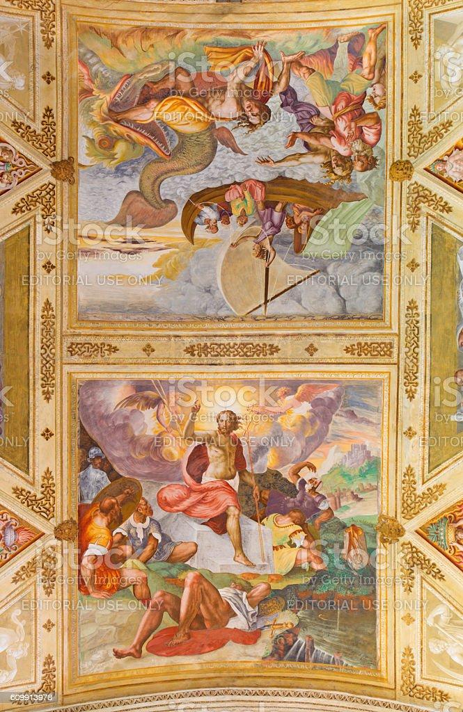 Cremona - Resurrection of Jesus and prophet Jonah stock photo
