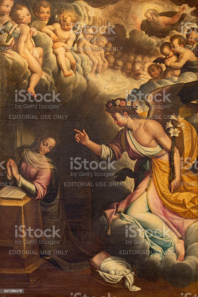 Cremona - The Annunciation paint stock photo