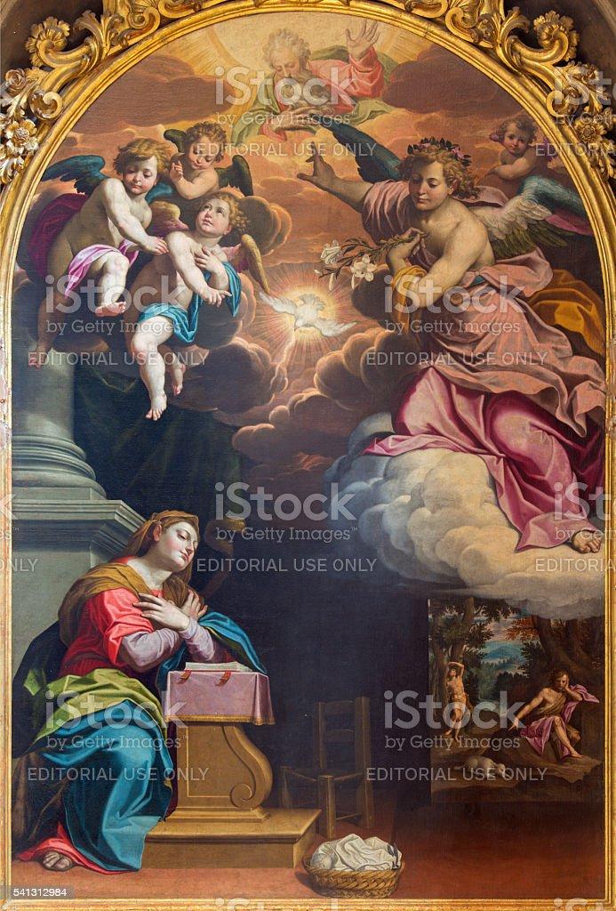 Cremona - The Annunciation painting by Giovanni Battista Trotti stock photo