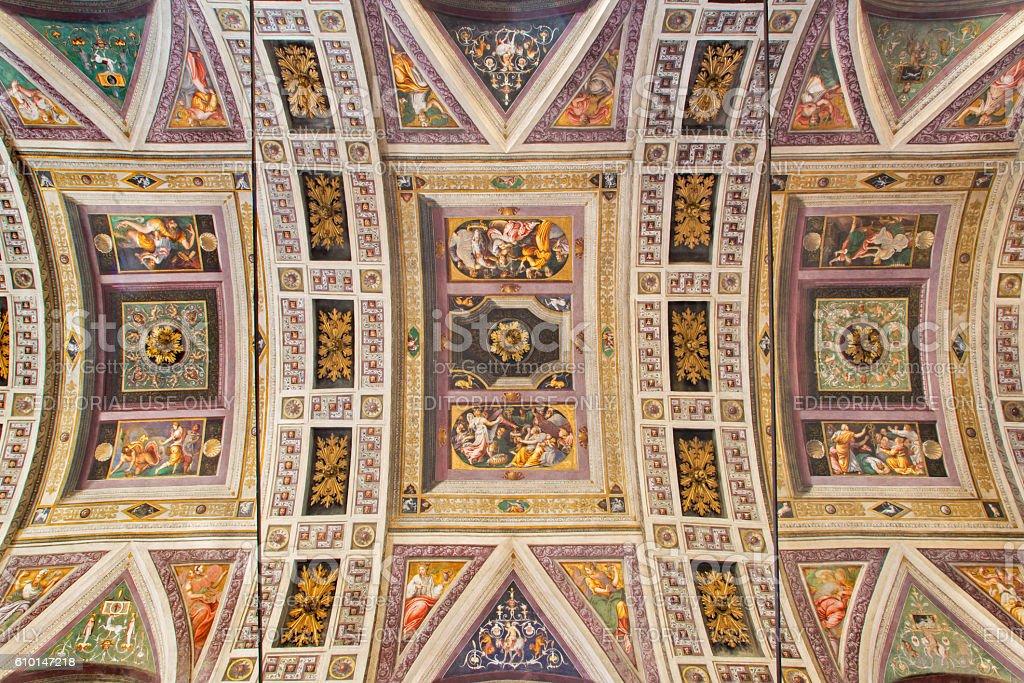 Cremona - The ceiling fresco in Chiesa di Santa Rita stock photo
