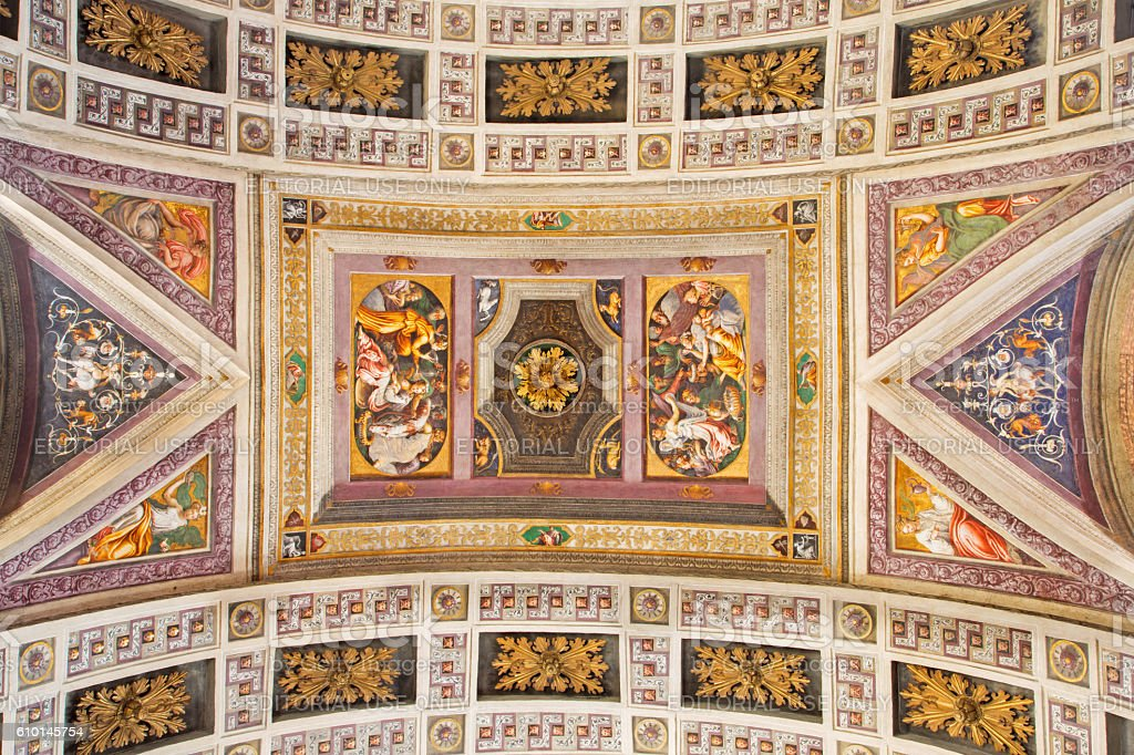 Cremona - The ceiling fresco with the Old testament scenes stock photo