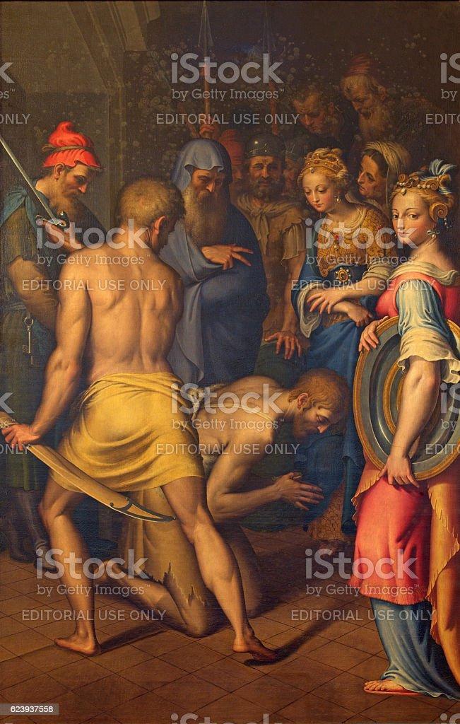 Cremona - The decapitation of St. John the Baptist stock photo