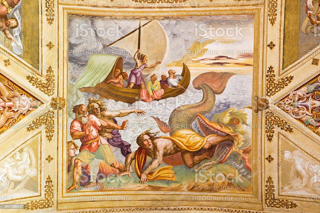 Cremona - The frescco of scene from Prophet Jonah stock photo