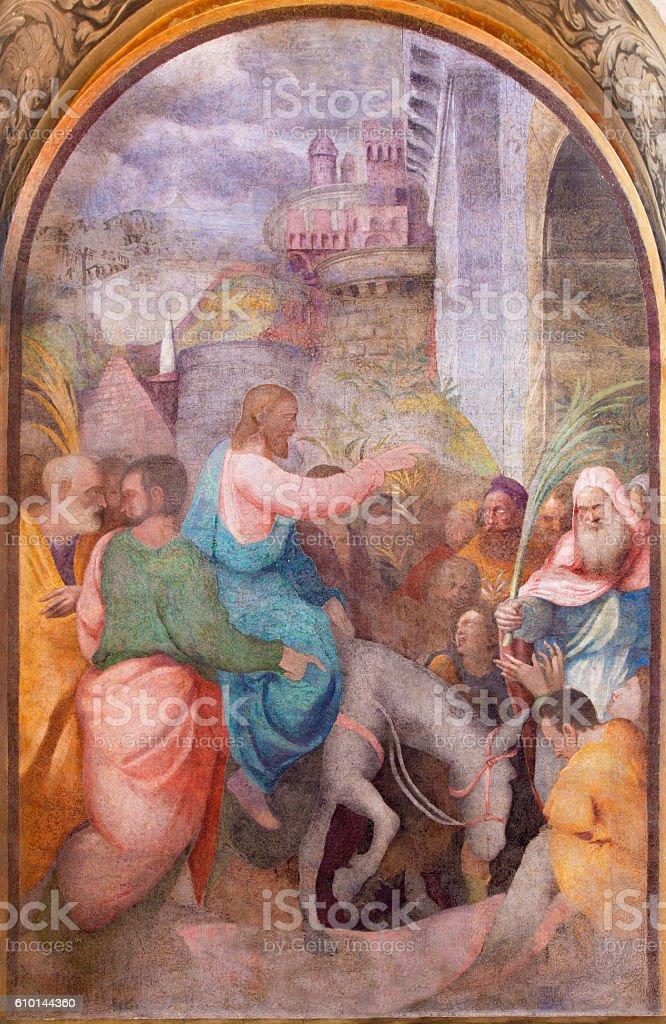 Cremona - The fresco Entry of Christ in Jerusalem stock photo