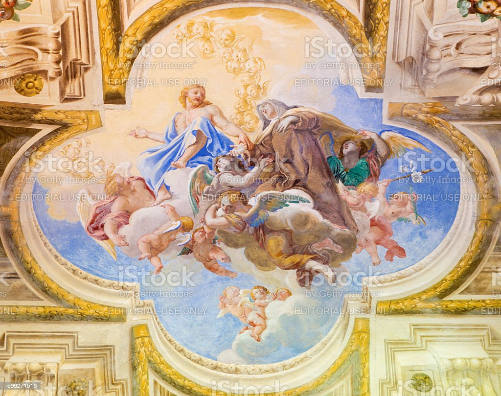Cremona - The fresco of Apotheosis of st. Theresia stock photo