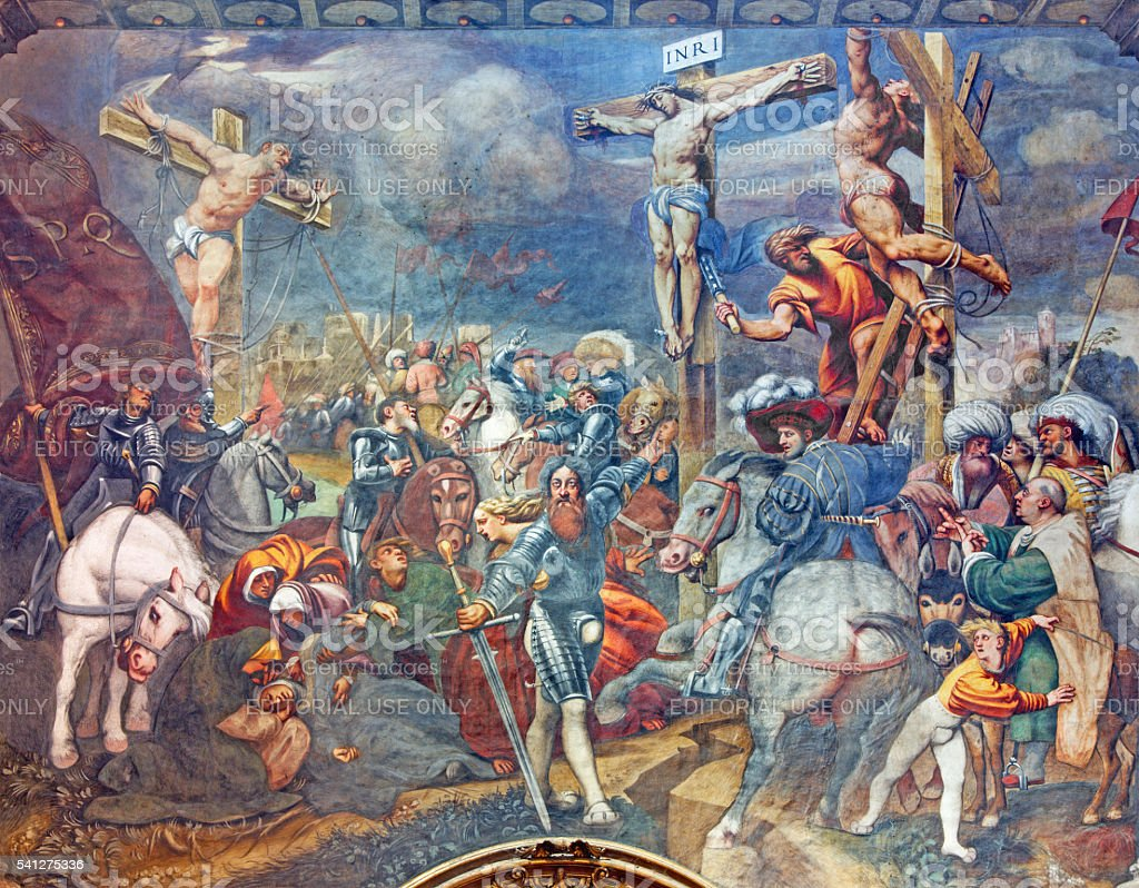 Cremona - The fresco of Crucifixion in Cathedral stock photo
