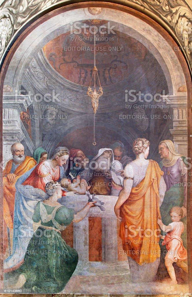 Cremona - The fresco of Presentation in the Temple stock photo