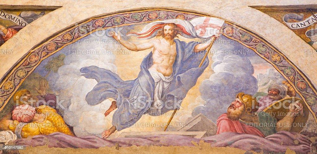 Cremona - The fresco of Resurrection of Jesus stock photo