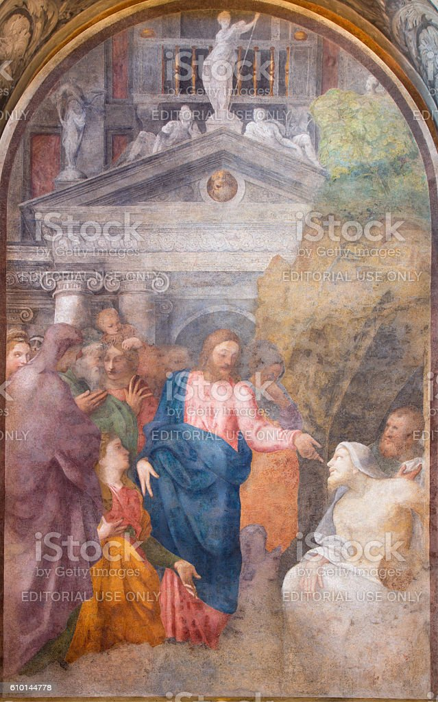 Cremona - The fresco Resurrection of Lazarus stock photo