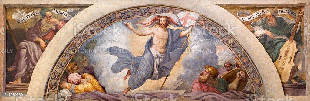 Cremona - The freso of Resurrection of Jesus stock photo