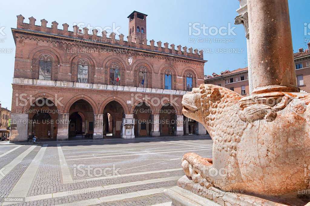 Cremona - The lions in front of The Cathedral Assumption stock photo