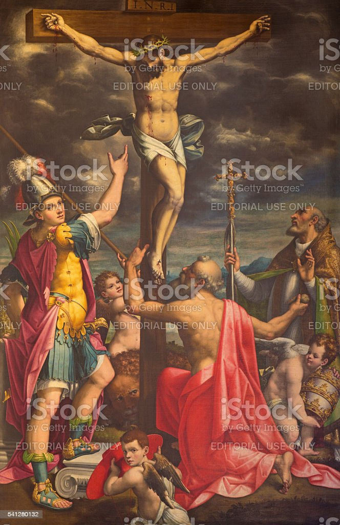 Cremona - The paint of Crucifixion with the saints stock photo