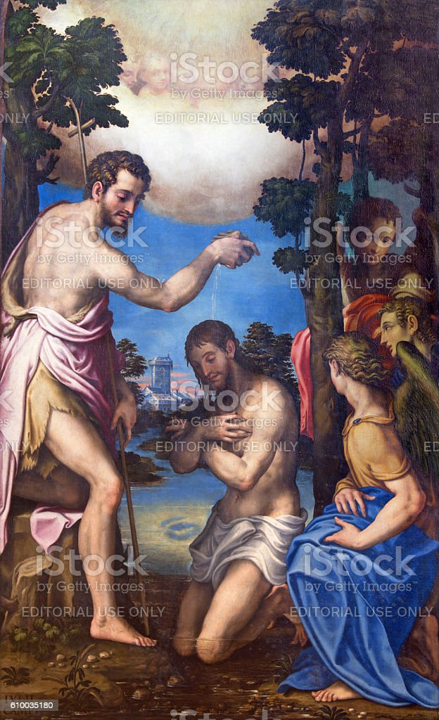 Cremona - The painting of Baptism of Christ stock photo