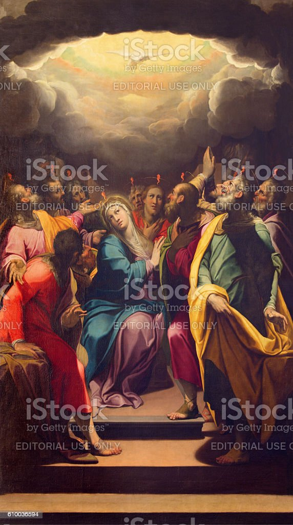 Cremona - The painting of Pentecost in The Cathedral stock photo