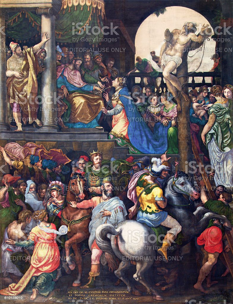 Cremona - The painting Triumph of Mordecai stock photo