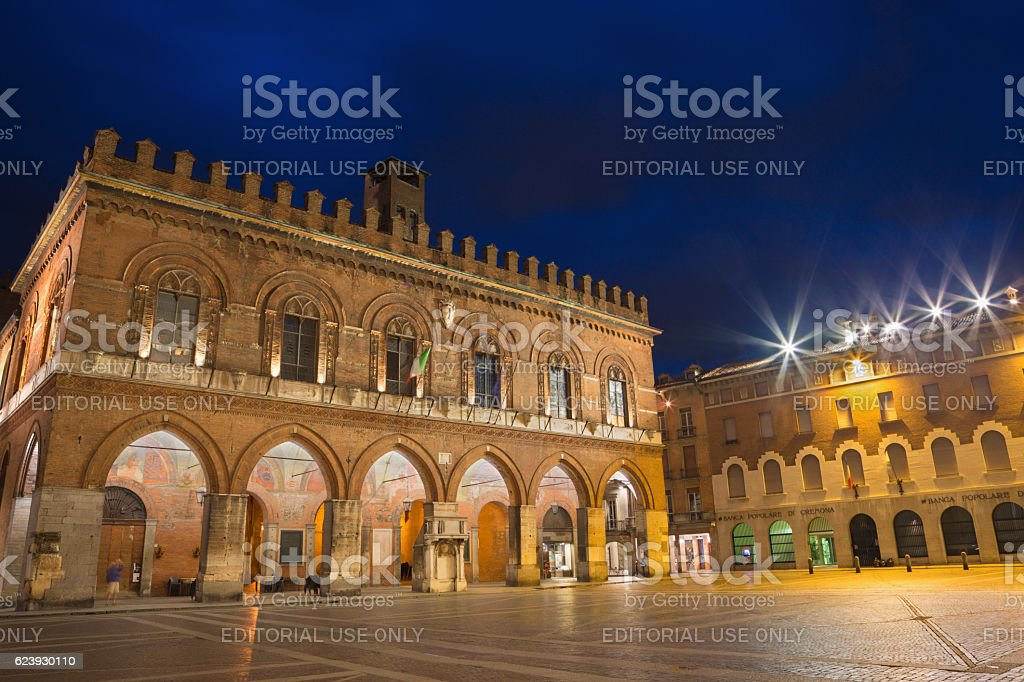 Cremona - The palace Palazzo Coumnale at dusk. stock photo