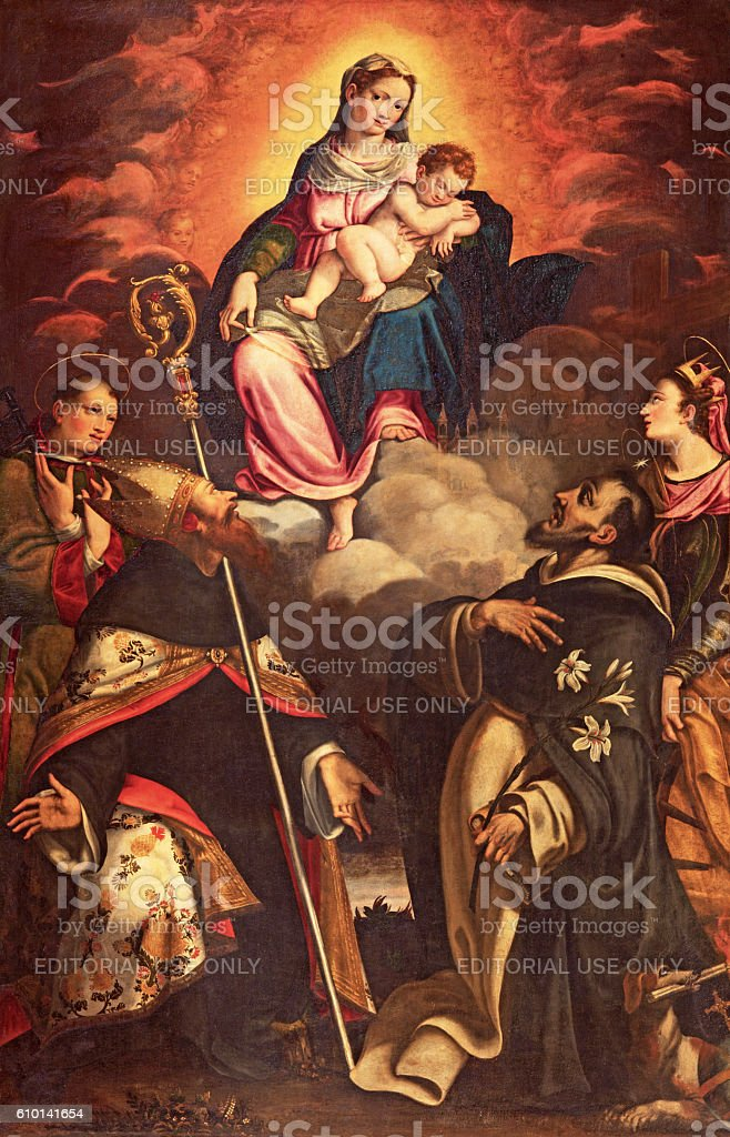 Cremona - The panting of Madonna in Glory stock photo