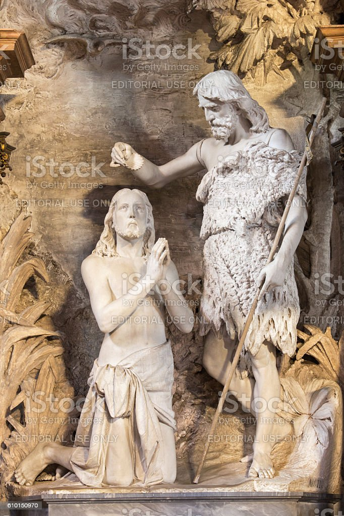 Cremona -  The statue of Baptism of Christ stock photo