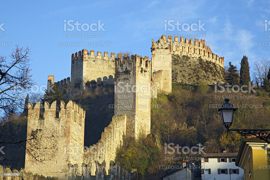 Crenellated walls and towers of Soave Castle, Verona (Italy) royalty-free stock photo