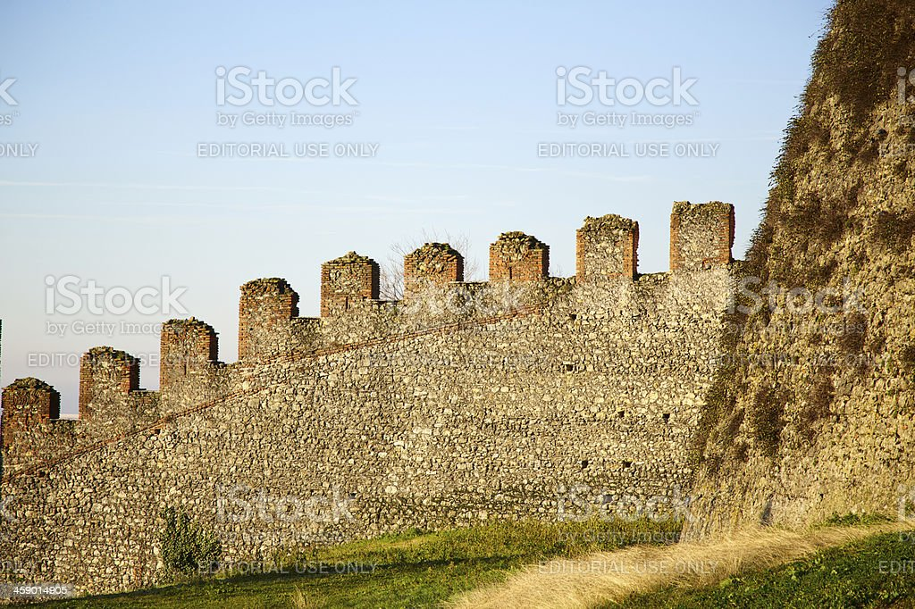 Crenellated walls of Soave Castle, Verona (Italy) royalty-free stock photo