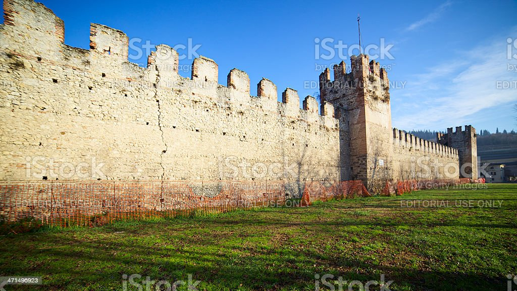 Crenellated walls of Soave Castle, Verona (Italy) stock photo
