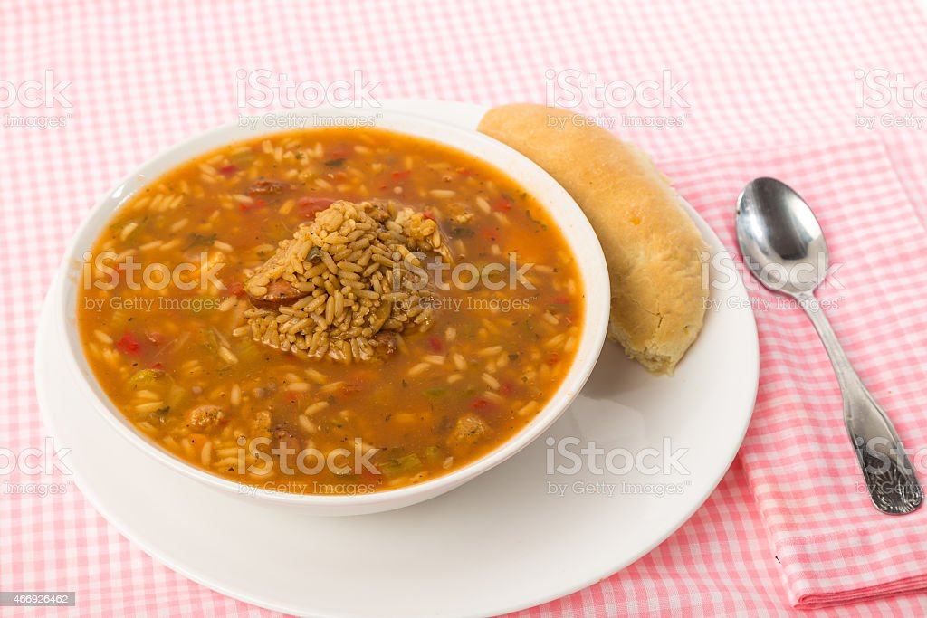 Creole Gumbo with Dirty Rice stock photo
