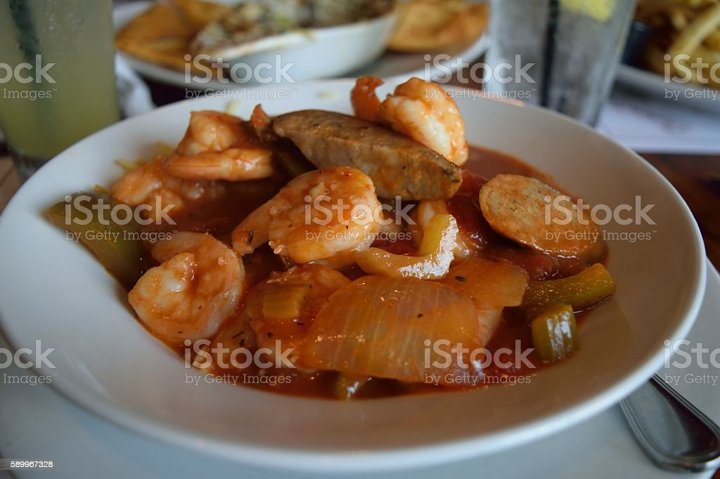 Creole shrimp gumbo stock photo