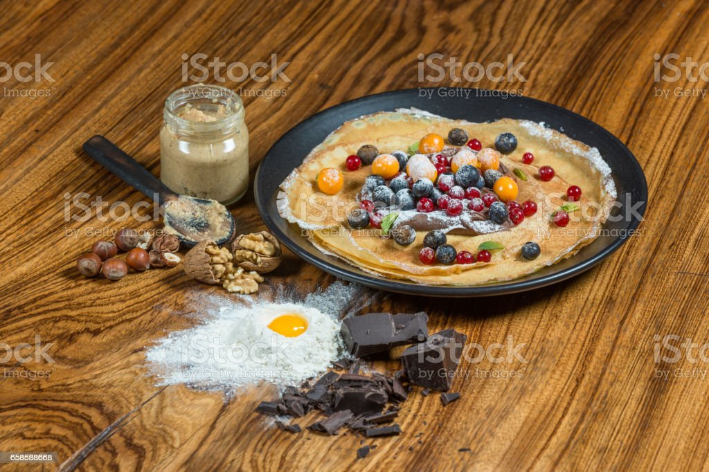 Crepe with fruit stock photo