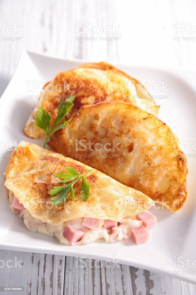 crepe with ham and cheese stock photo