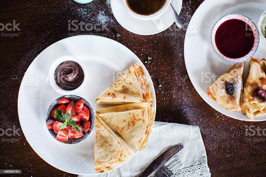 Crepes and Coffee stock photo