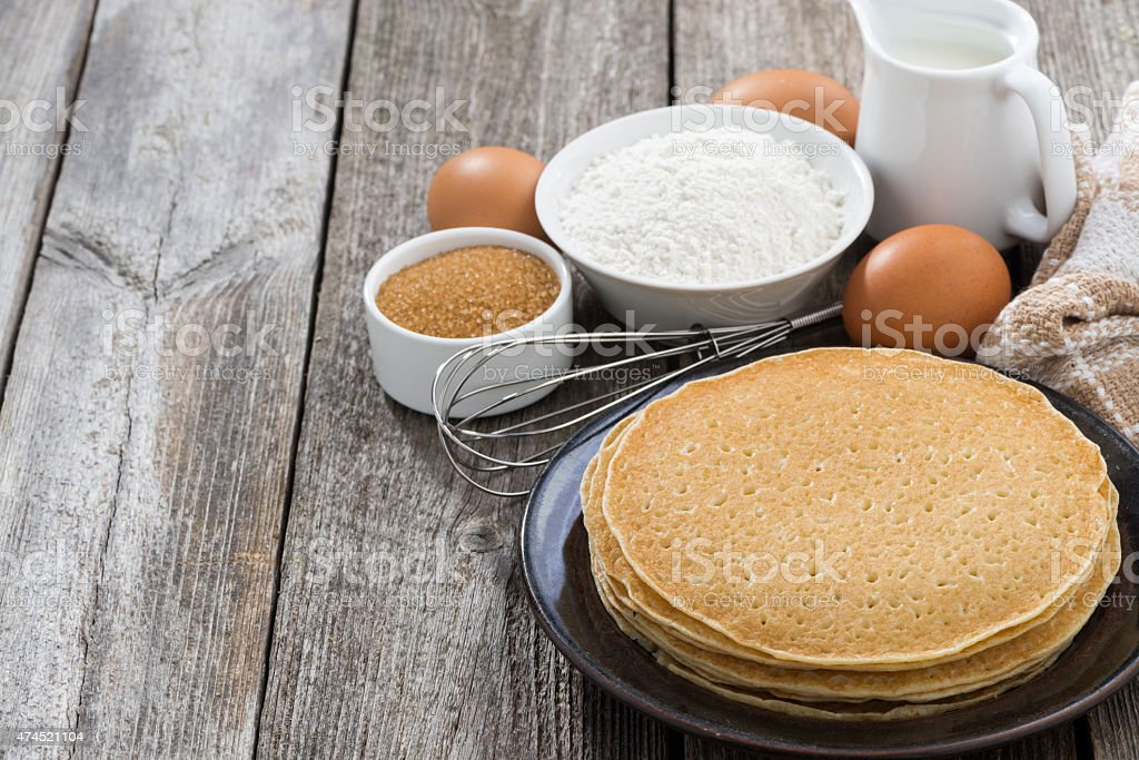 crepes and ingredients for their preparation stock photo